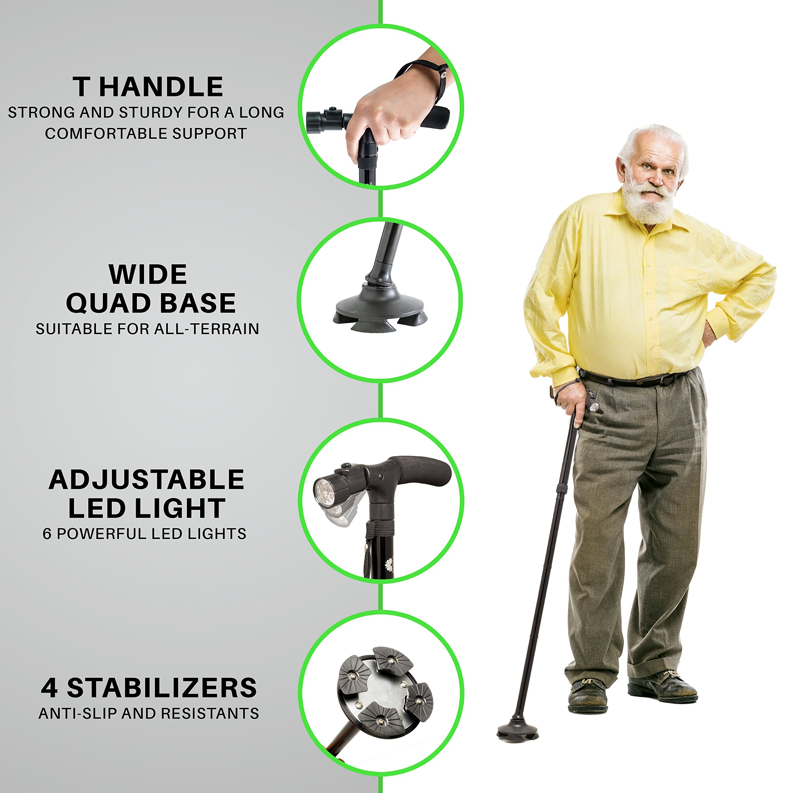 Walking Cane by Dr. Maya with Free Cane Tips & LED Lights - Lightweight, Adjustable, Foldable, Pivoting Base, Quad Travel Balance Stick Support for Elderly Men and Women - Walker Gift for Seniors! by Dr. Maya (Image #8)