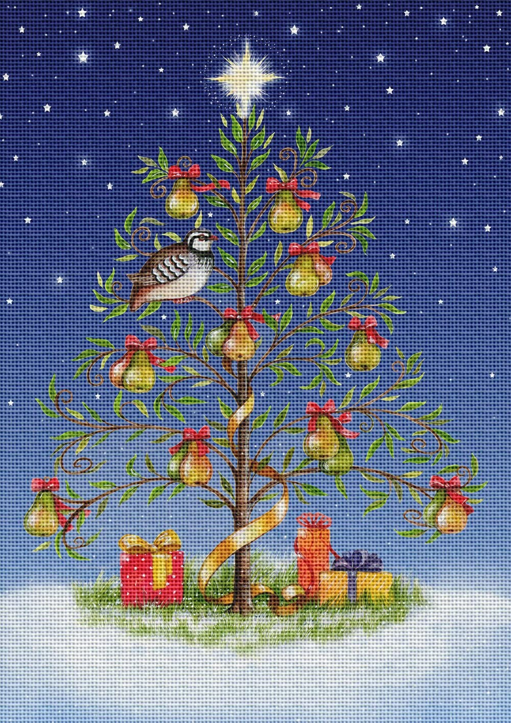 Art Needlepoint Christmas Partridge in a Pear Tree by Debbie Cook Needlepoint Canvas