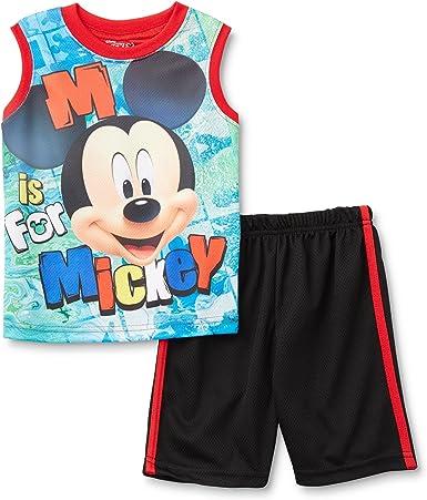 Conjunto de Camiseta sin Mangas y sublimación Corta de Mickey Mouse para niños