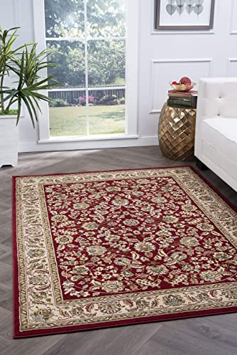 Tayse Lizbeth Red 9×13 Rectangle Area Rug for Living, Bedroom, or Dining Room – Traditional, Oriental