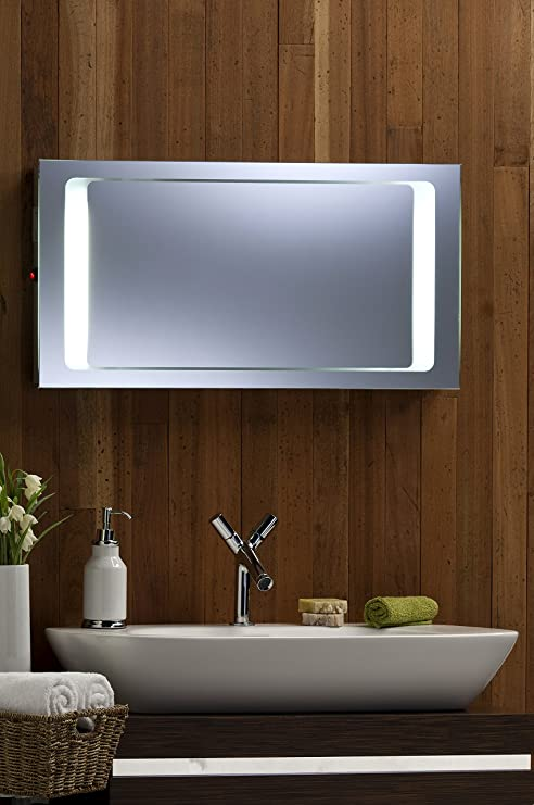 Hermoso con retroiluminación espejo para el baño con afeitadora ...