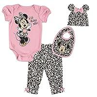 Minnie Mouse Baby Girls 4 Piece Layette Set: Bodysuit Pants Hat Bib