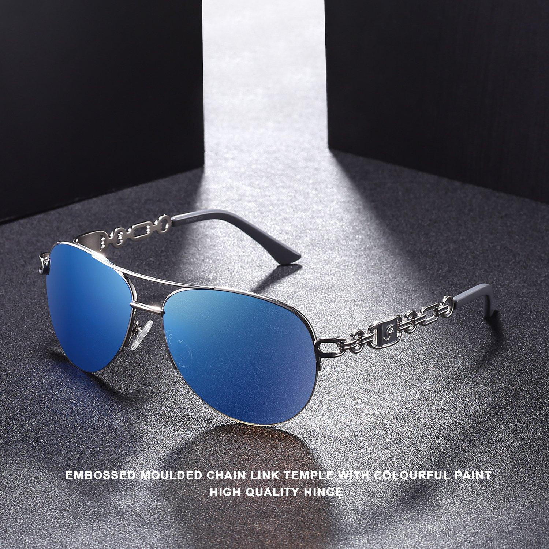 5b84157895 Amazon.com  Fenchi Sunglasses For Women Driving Aviator Stereoscop Classic  Vintage Eyewear Sunglasses Women 0257 (lens:blue revo frame:shiny ...