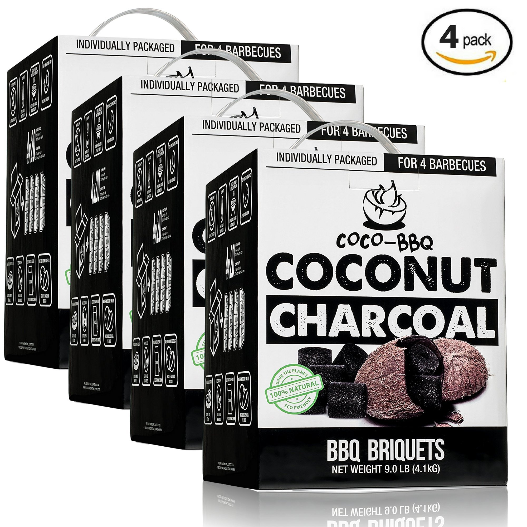 COCO-BBQ Eco-Friendly Barbecue (SET OF 4) Charcoal Made from Coconut Shells for Low and Slow Grilling by COCO-BBQ