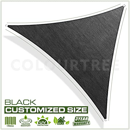 ColourTree Customized Size Order to Make Sun Shade Sail Canopy Mesh Fabric UV Block Triangle – Commercial Standard Heavy Duty – 190 GSM – 3 Years Warranty 28 x 28 x 28 Black