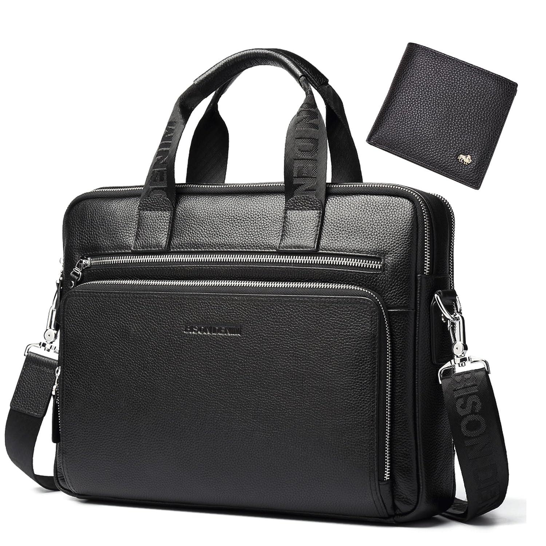 Bison Denim Mens en cuir véritable porte-documents sacs à main N2333-3C