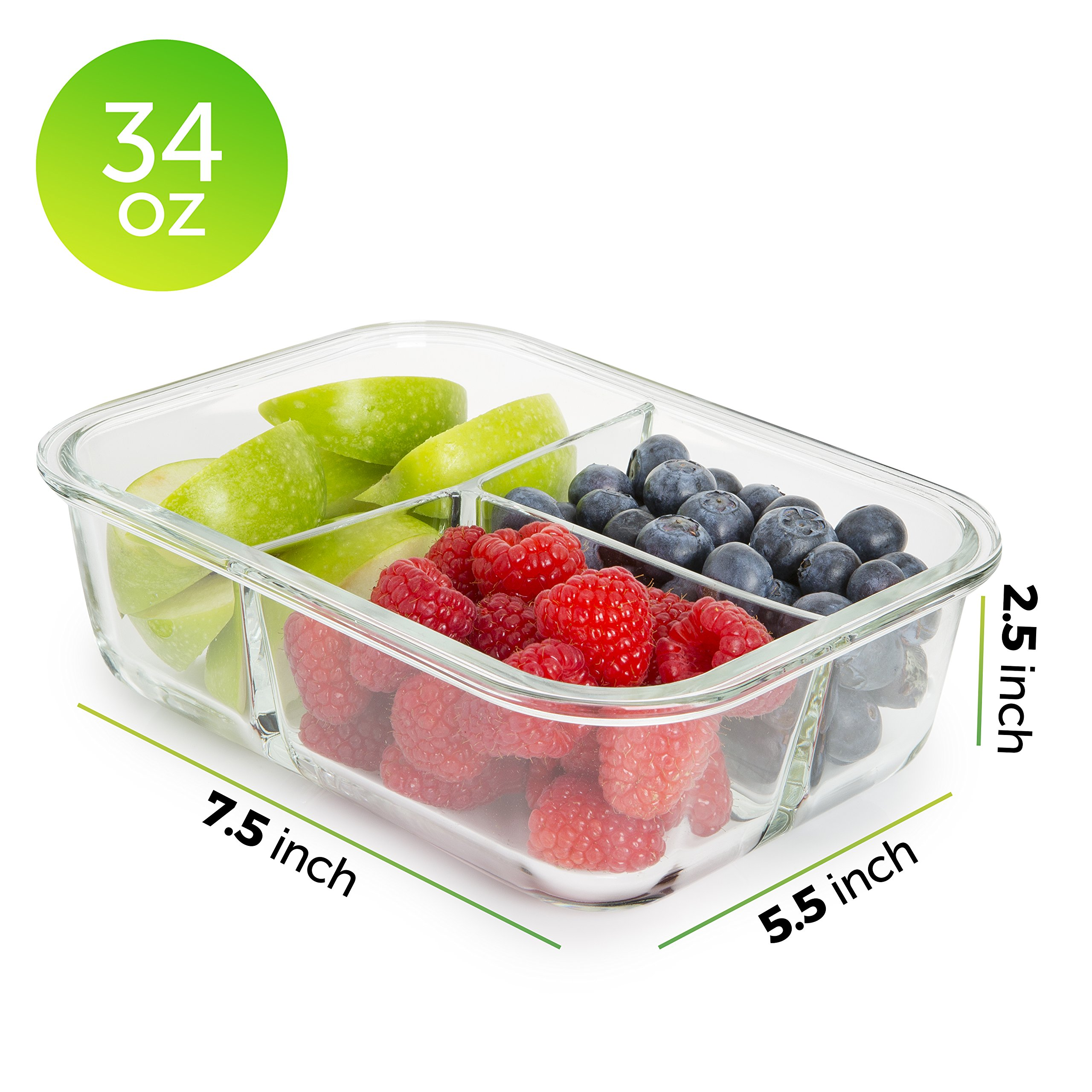 [5-Pack] Glass Meal Prep Containers 3 Compartment - Bento Box Containers Glass Food Storage Containers with Lids - Food Prep Containers Glass Storage Containers with lids Lunch Containers by Prep Naturals (Image #6)