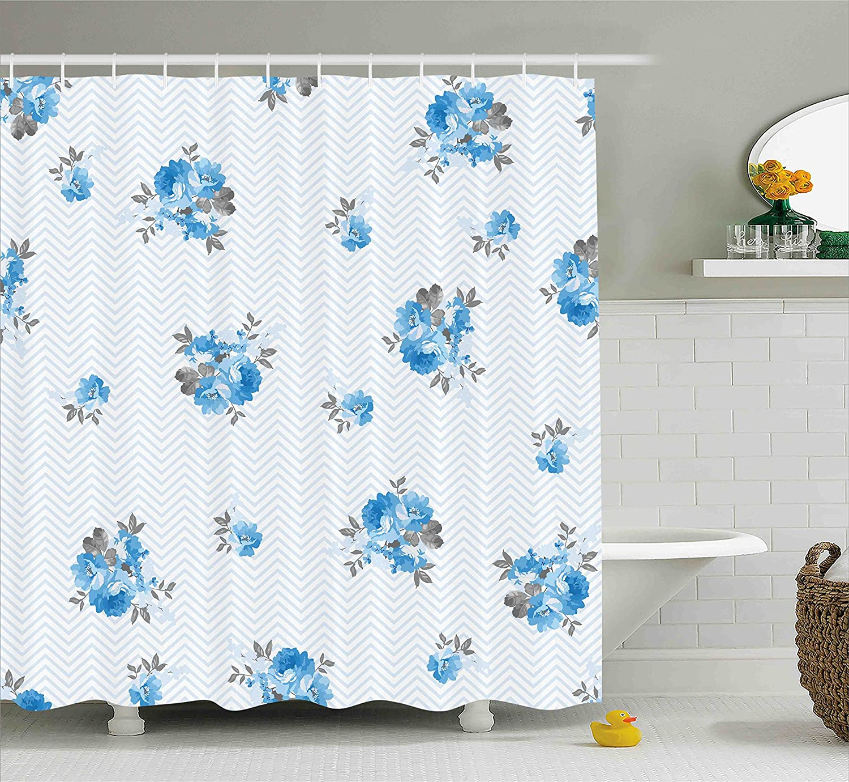 Dark Blue Ambesonne Moon Decor Shower Curtain Mystic Winter Wonderland with Starry Sky Dark Night Magical Forest Landscape Fabric Bathroom Decor Set with Hooks