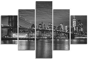 Pont de Brooklyn Noir et blanc Impression sur toile murale Motif ...