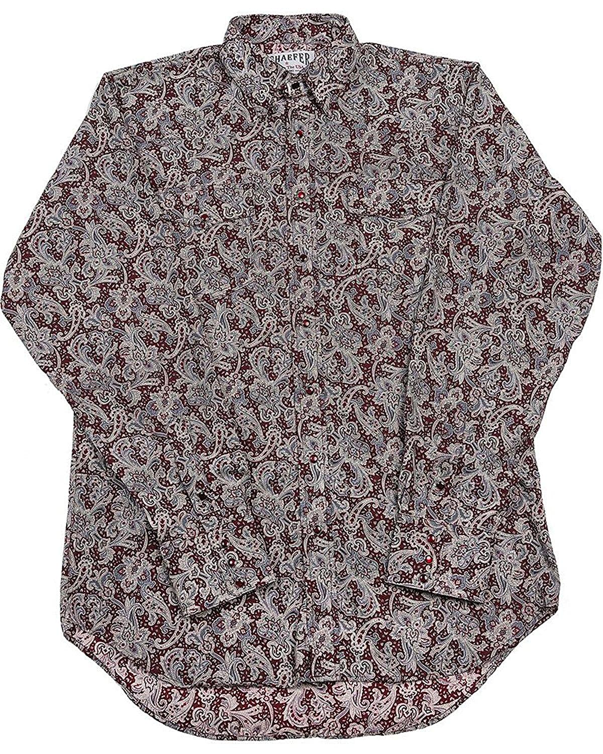 2055-By Schaefer Outfitters Mens Burgundy Frontier Paisley Western Snap Shirt