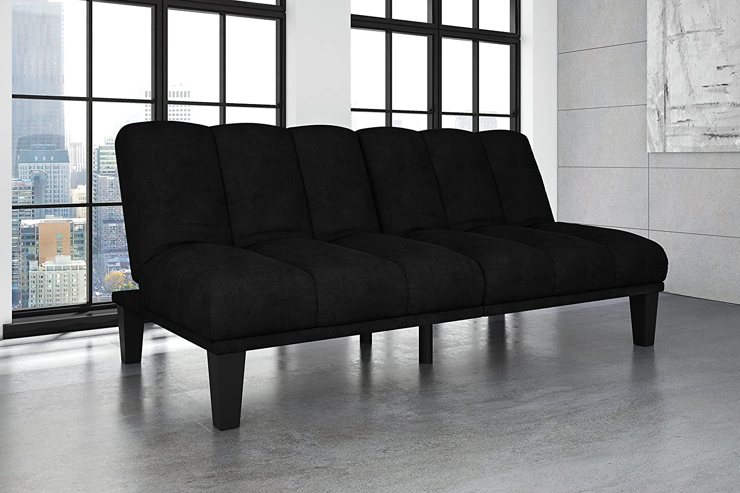 Hamilton Estate Premium Sofa Futon Sleeper - Rich Black Comfortable Plush Upholstery - Sturdy Wood Construction - Modern
