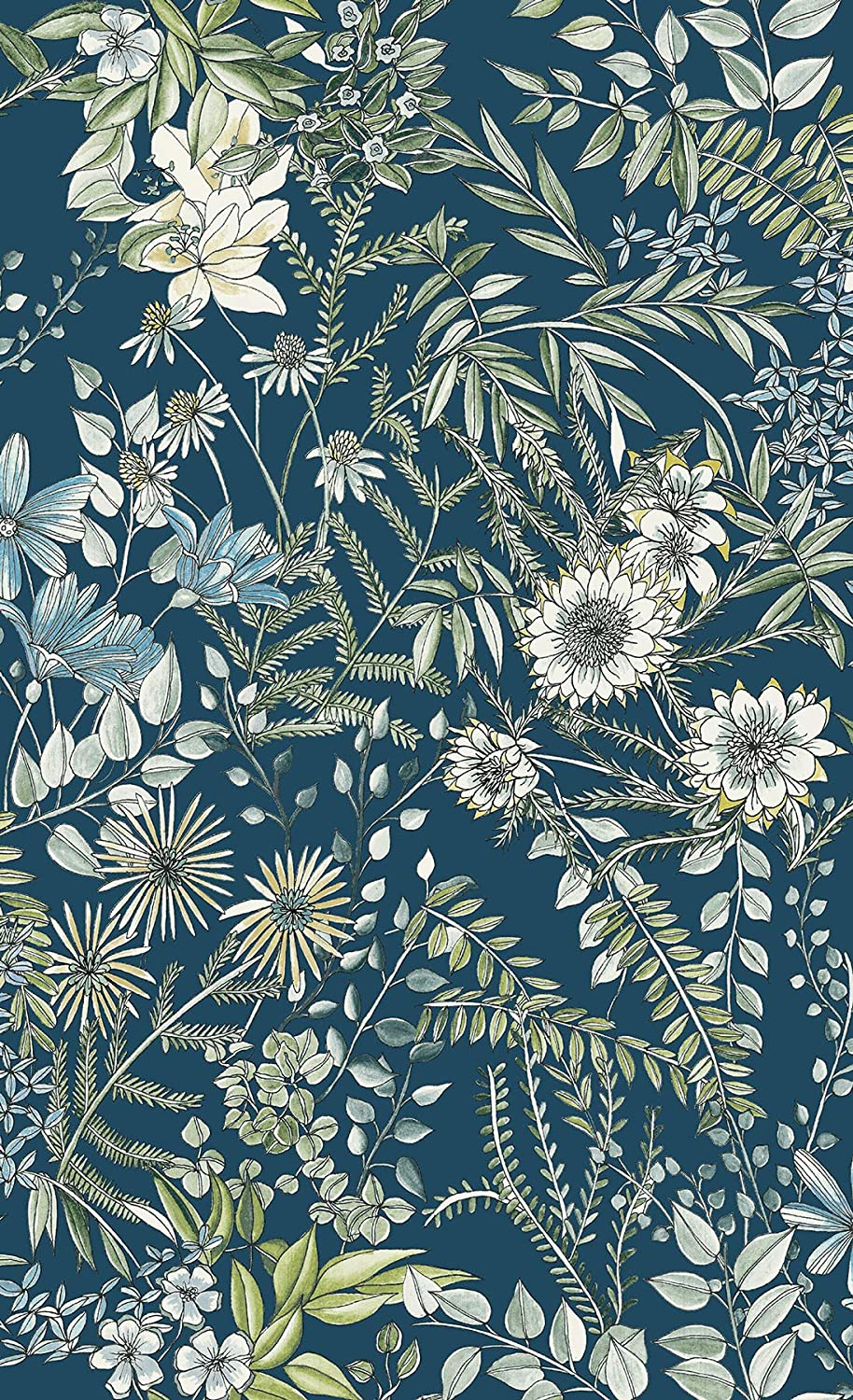 A Street Prints 2821 12902 Full Bloom Navy Floral Wallpaper