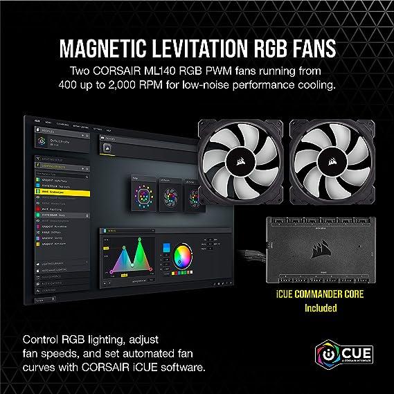 Corsair iCUE H115i ELITE CAPELLIX Refrigerador Líquido de CPU, 33 LED RGB CAPELLIX, Dos Ventiladores PWM de 140 mm ML RGB, 400 y 2.000 RPM, iCUE ...