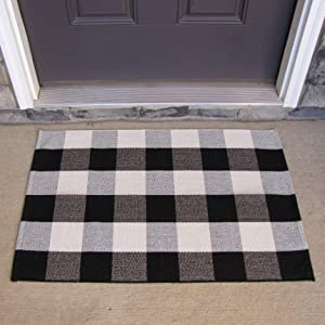 Cotton Buffalo Plaid Rugs Black and white Checkered Rug (24X36 inch) Welcome Door Mat Rug for Bathroom Carpet Kitchen Outdoor Porch Living Room Laundry Throw Mat Washable Woven Buffalo Check