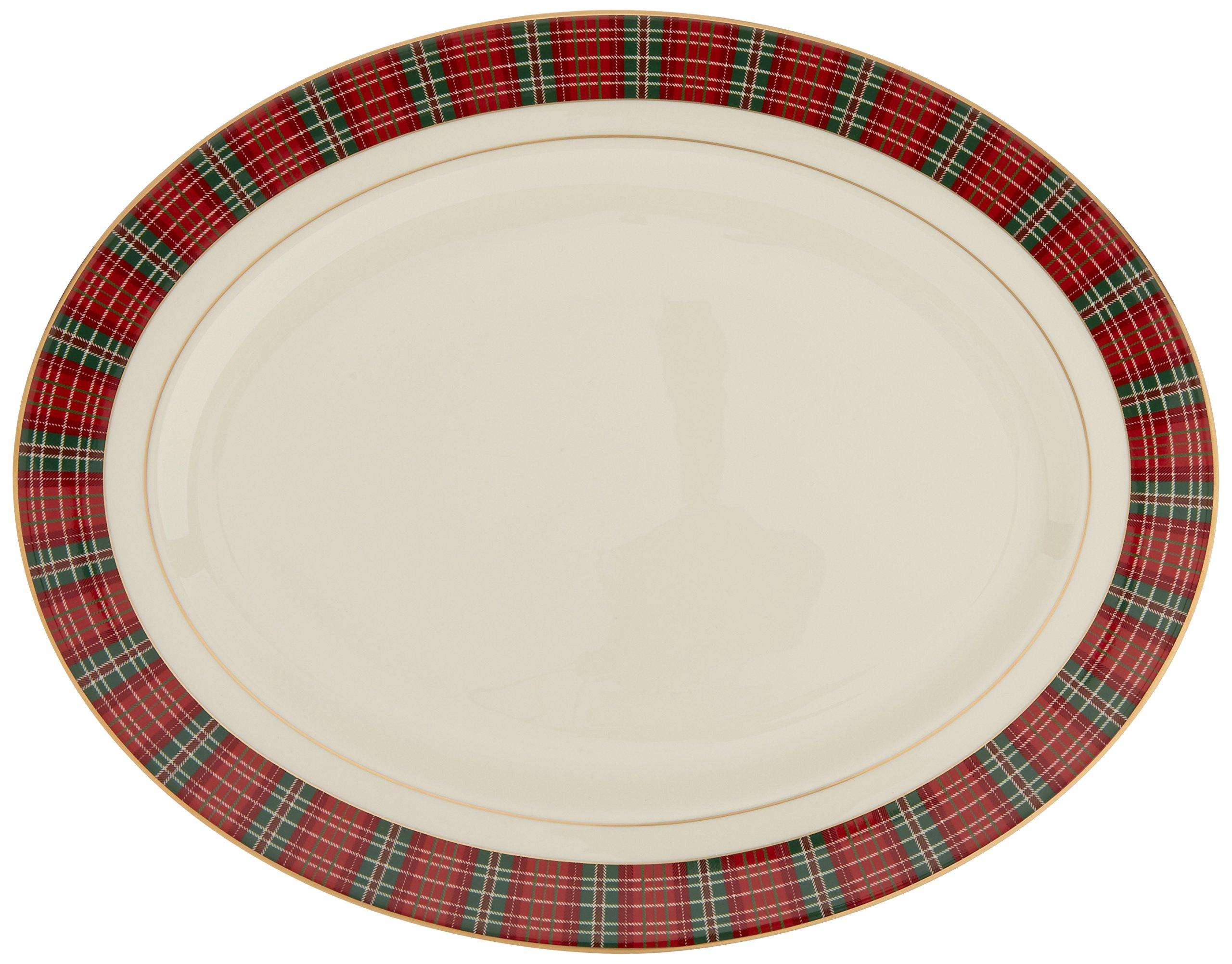 Lenox Winter Greetings Plaid Oval Platter