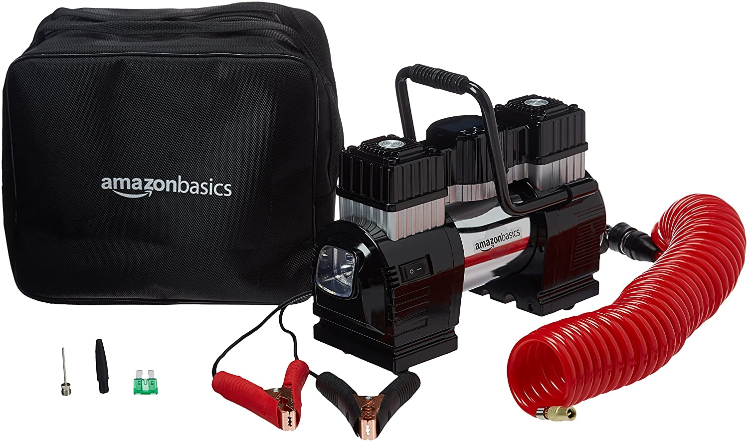 Dual Battery Clamps with Carrying Case Basics Portable Air Compressor