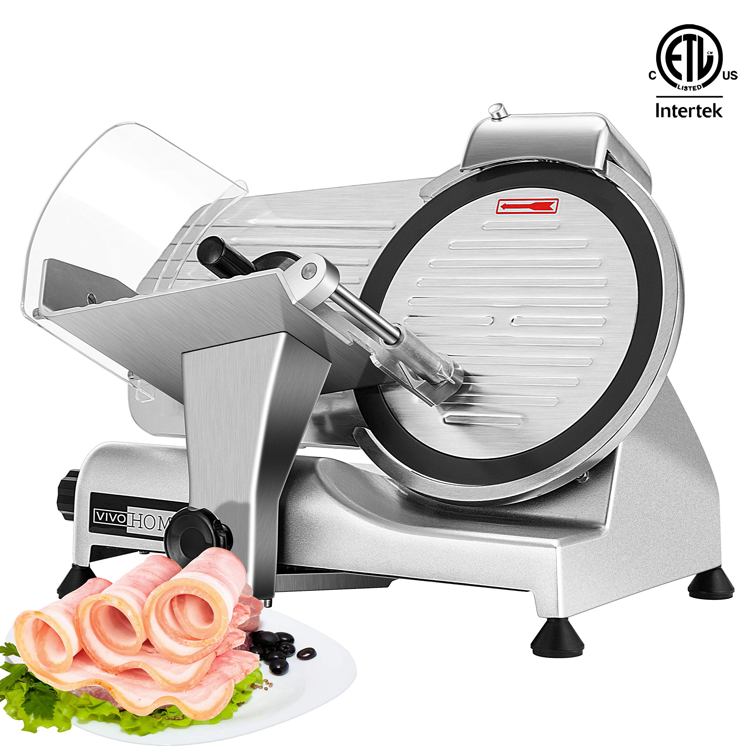 VIVOHOME 110V 320W 10 Inch Heavy Duty Stainless Steel Electric Meat Slicer Machine for Home and Commercial Use ETL Listed by VIVOHOME