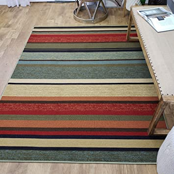 Amazon Com Area Rug 5x7 Colored Stripes Kitchen Rugs And Mats