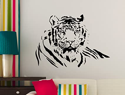 Carino Vinyl Designs Tiger Wall Stickers Tiger Wall Decal Cat Wall Decals Med Blue 82 8cm X 59 5cm Amazon Co Uk Kitchen Home