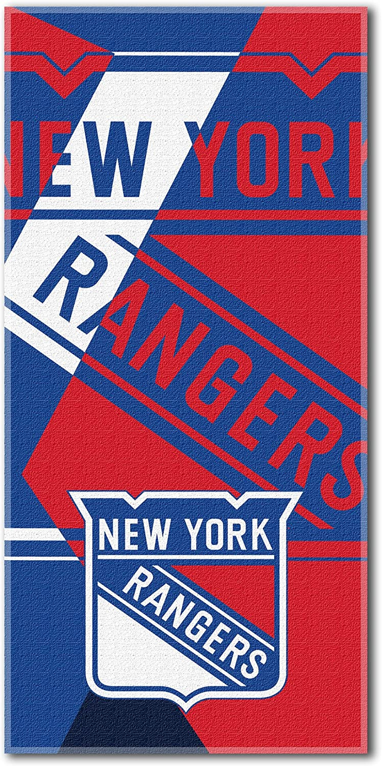 Officially Licensed NHL Puzzle Beach Towel Multi Color 34 x 72