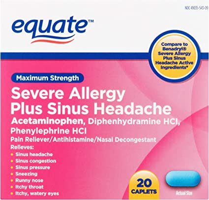 Amazon Com Equate Severe Allergy And Sinus Headache 20 Caplets Health Personal Care
