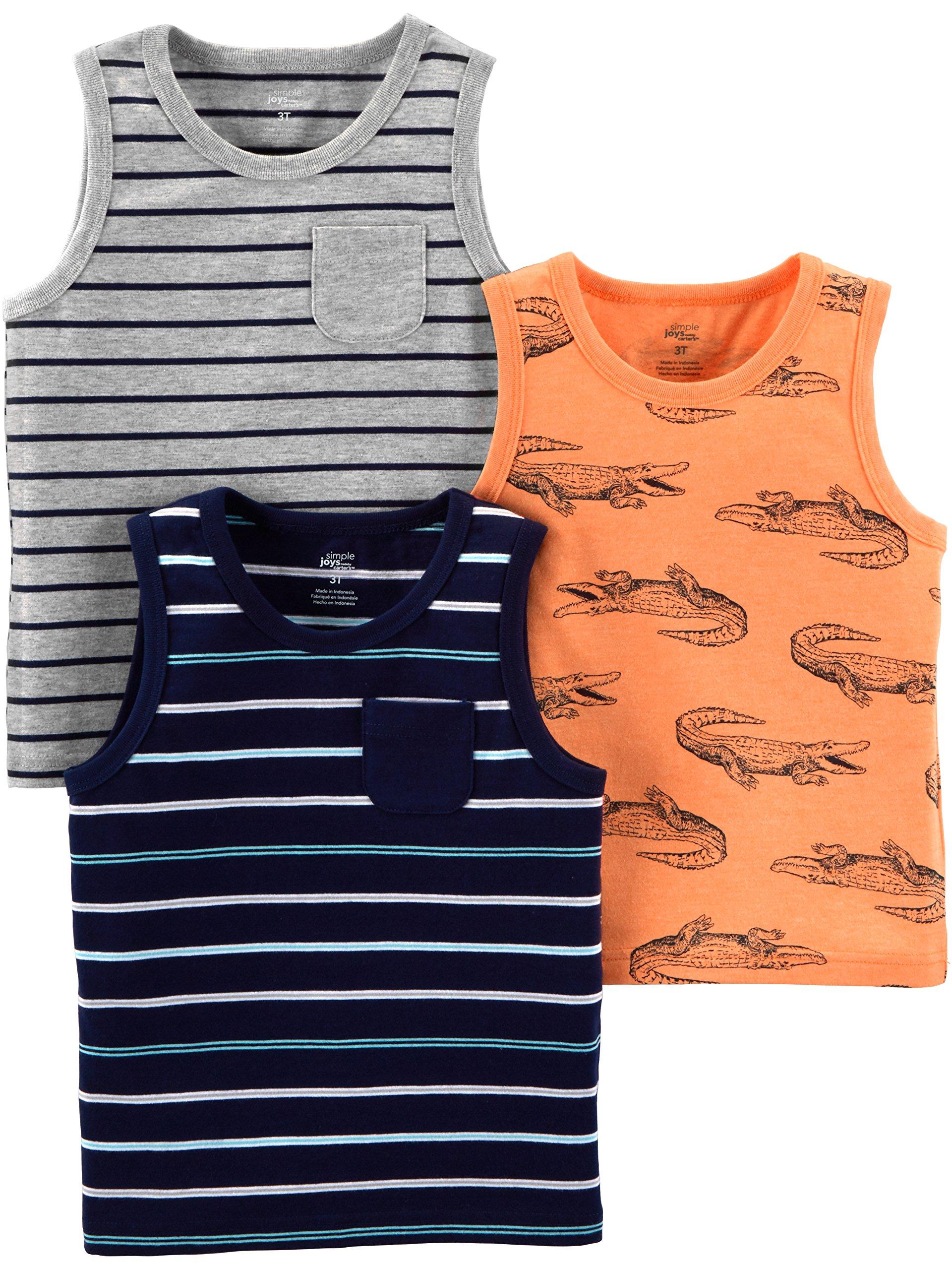 Simple Joys by Carter's Boys' Toddler 3-Pack Tank Tops, Blue Orange Gators/Gray Stripe, 4T