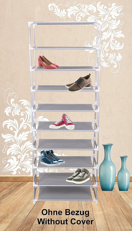 Iseaa Etagere a Chaussures 9 Couches 27 Paires de Chaussures Armoire Etagere avec Housse 60x155x30 cm
