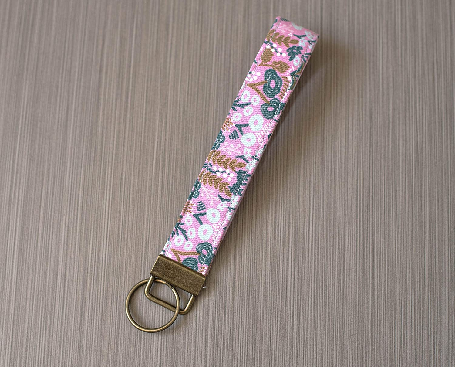 Pink Keychain Wristlet Floral Key Wristlet Keyring Small Gift for Mom Les Fleurs Fabric Key Fob Holder Rifle Paper Co Key Chain for Women