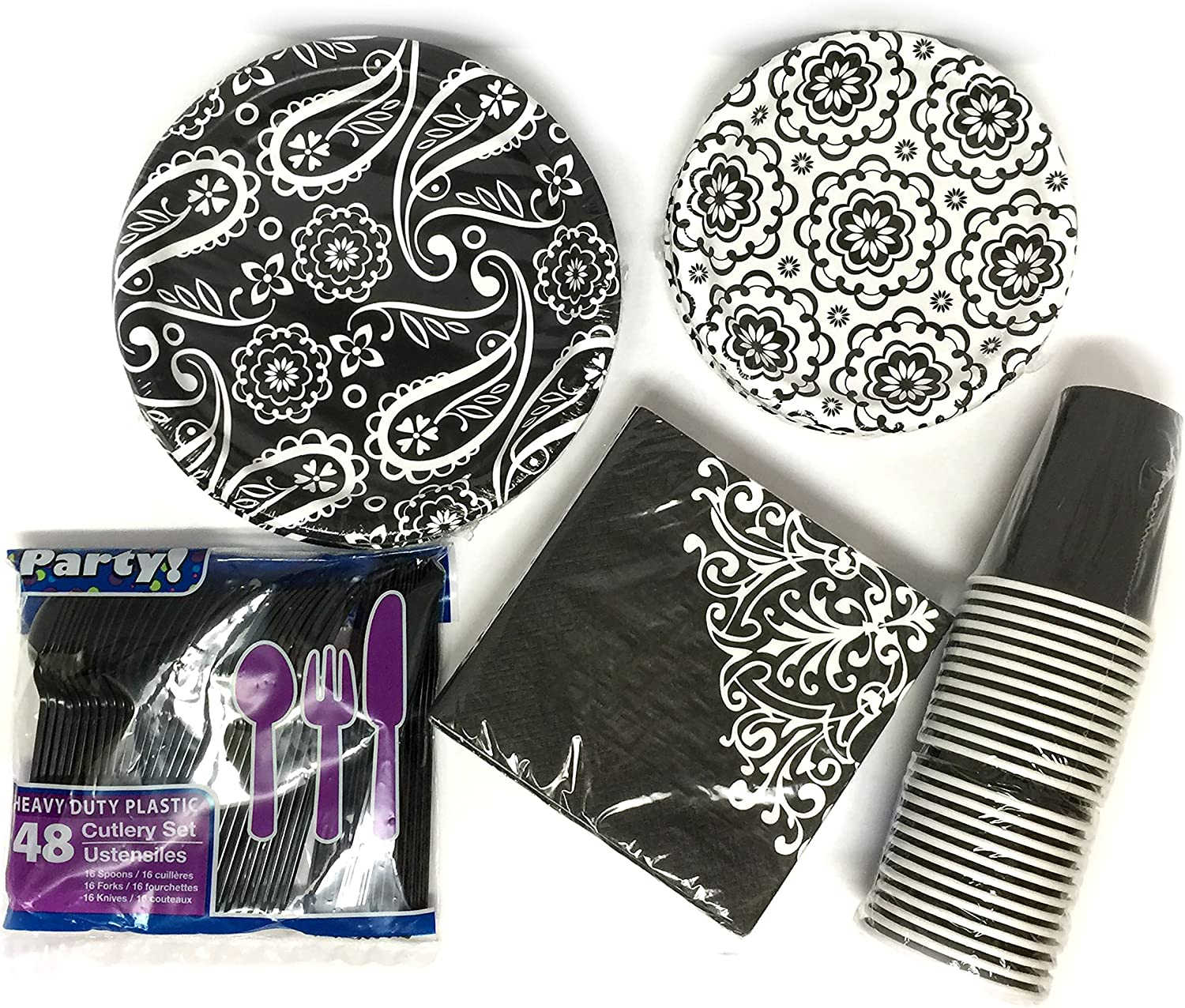 Amazon Com Elegant Black White Ornate Dinner Paper Plates Bundle For 24 5 Items 36 Large 8 75 Plates 40 Small Appetizer 6 8 Plates 40 Napkins 24 Hot Cold Paper Cups And 48 Piece Plastic Tableware Kitchen Dining,Good Plants For Office Spaces