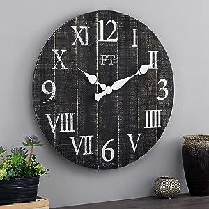 FirsTime & Co. White Rustic Farmhouse Barn Wood Clock, Black, 24 inches (31216)