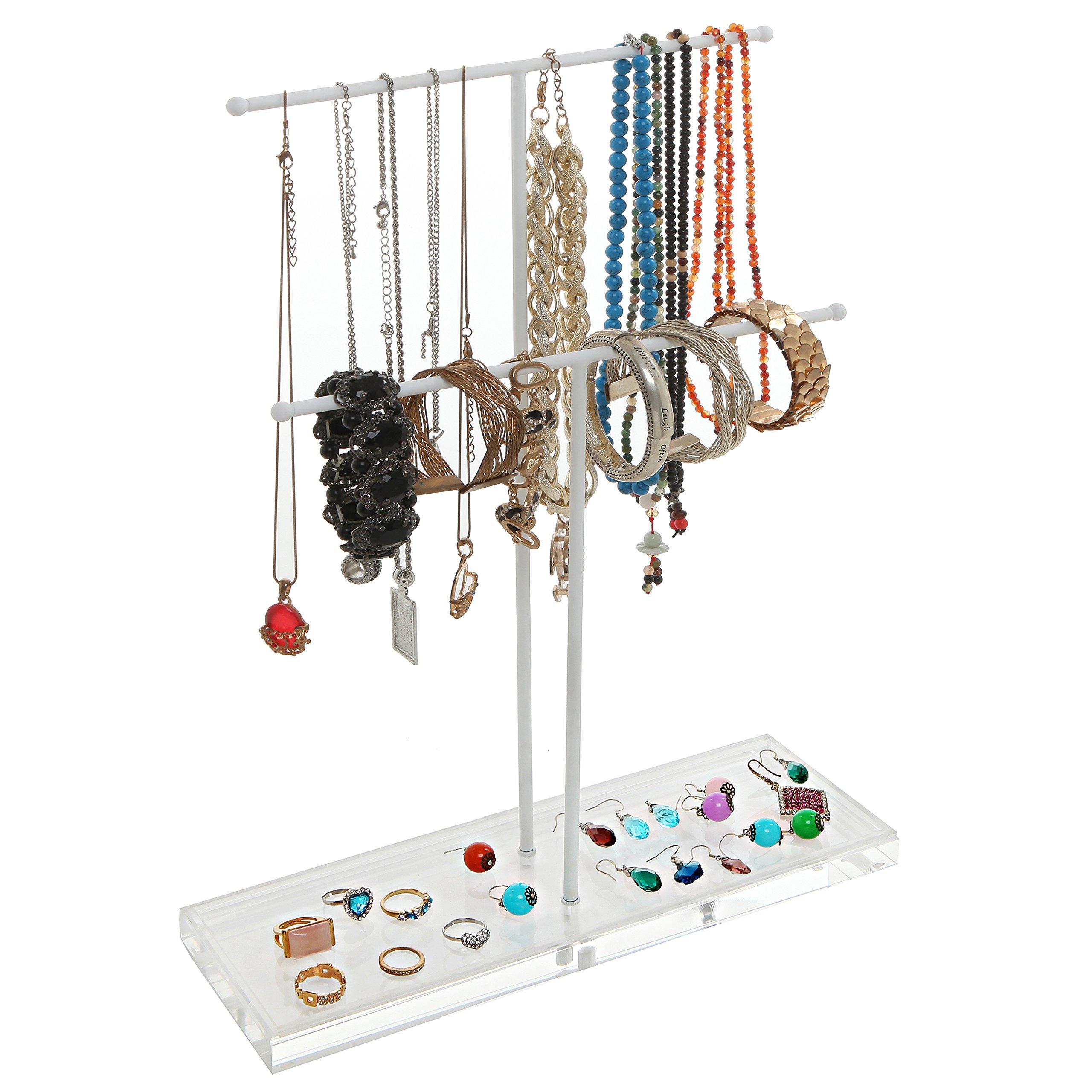 2 Tier White Metal Jewelry Storage Display Rack w/ Clear Acrylic Ring Dish / Necklace & Bracelet Holder