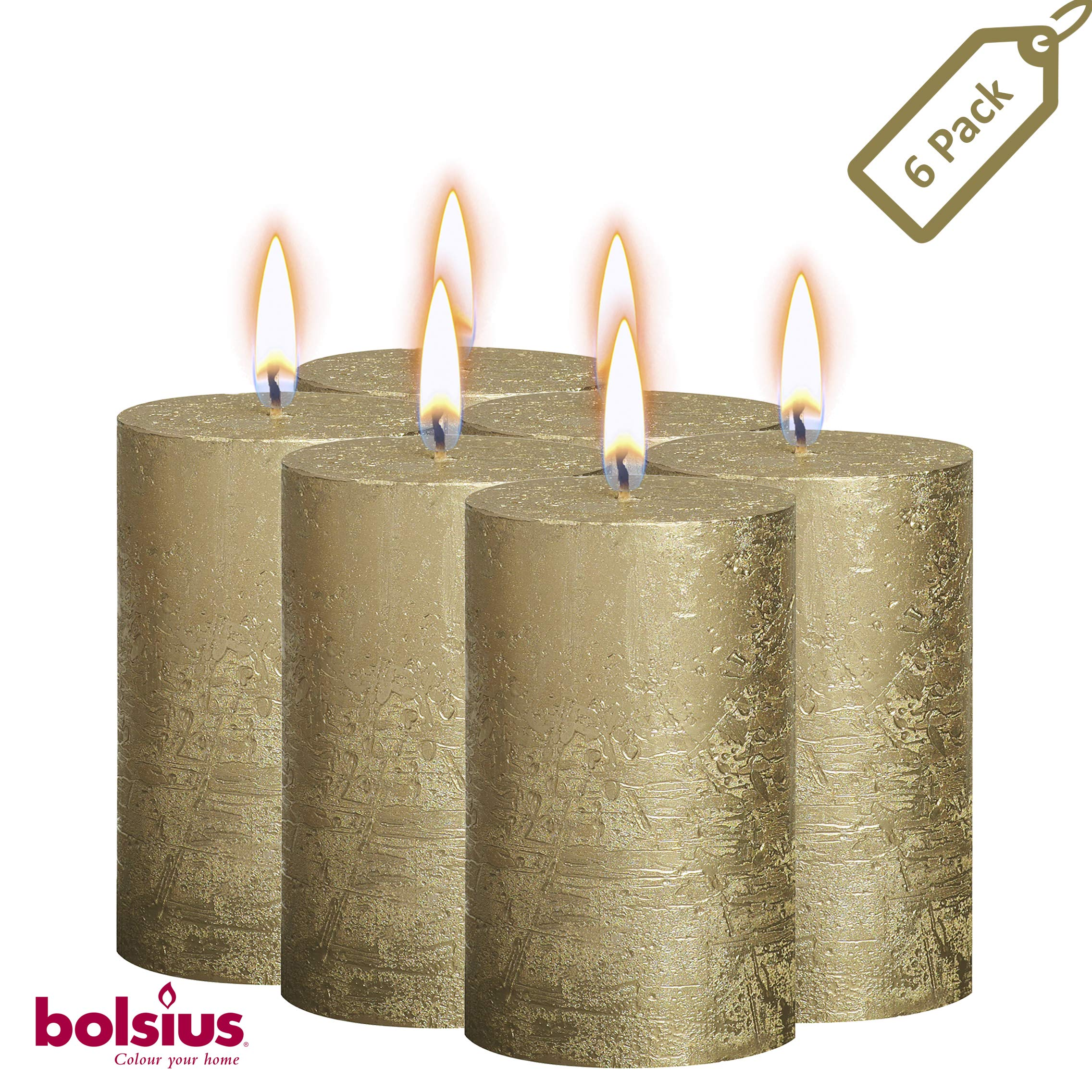 BOLSIUS Rustic Full Metallic Gold Candles - Set of 6 Unscented Pillar Candles - Gold Candles with a Full Metallic Coat - Slow Burning - Perfect Décor Candle - 130/68m 5 X 2.75 Inches