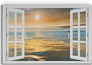 Window Look Out View with Peaceful Ocean Sunset Seascape Gallery Wrapped Canvas Wall Art