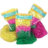 3 Variety Packs of Multicolored Yellow Pink & Green Reusable Shredded Plastic Easter Basket Grass Bags Bundle 255g Total Party Accessory Lot