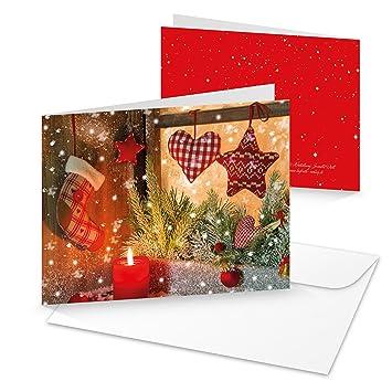 10 Stück Weihnachtkarten WEIHNACHTS-FENSTER rot Kerze weihnachtliche ...