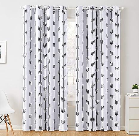 HLC.ME Arrow Printed Blackout Room Darkening Thermal Grommet Window Curtain Drape Panels for Kids Room Grey 63 inch Long Set of 2