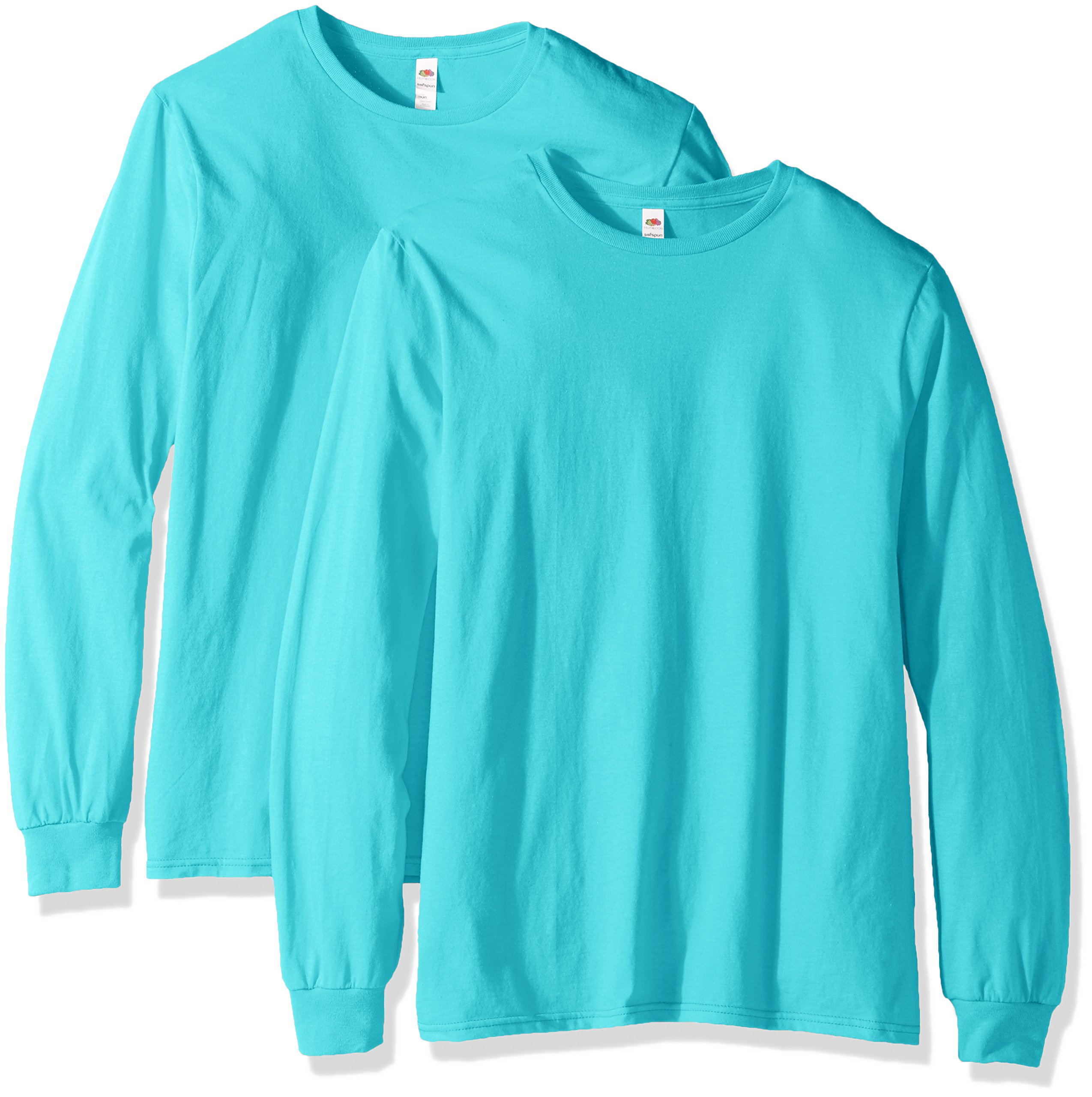 Fruit of the Loom Men's Long Sleeve T-Shirt (2 Pack), Scuba Blue, XXX-Large by Fruit of the Loom
