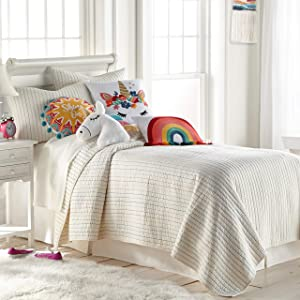 Levtex home Alice & Olive Chantal Quilt Set - Full/Queen Quilt (88x92) + Two Standard Shams (26x20) - Stripe Red, Pink, Green, Blue, Yellow and Off White/Cream Background - Reversible - Cotton