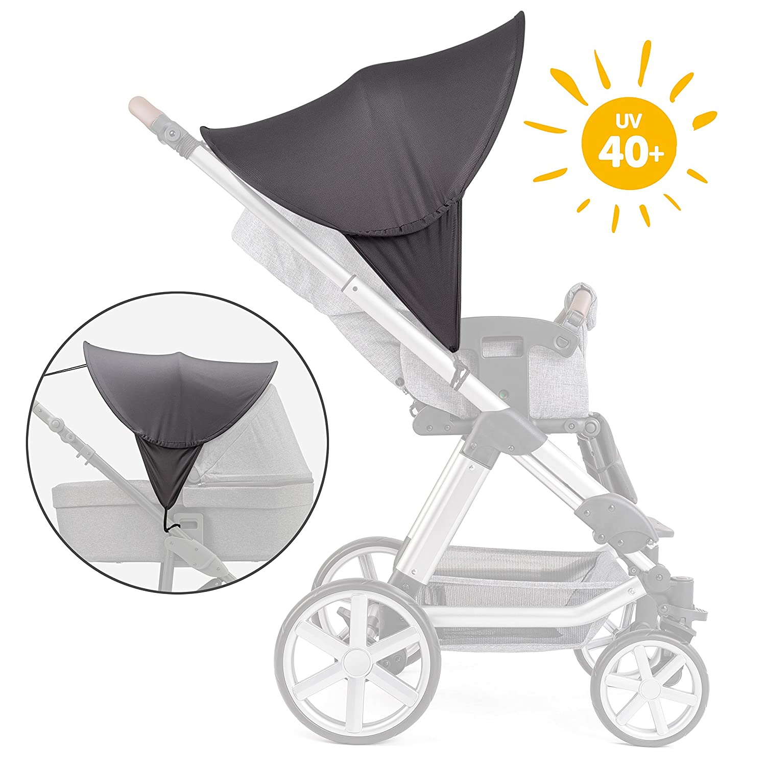Zamboo Universal Sun Shade Canopy for Pushchair, Stroller, Buggy, Pram and Carrycot | XL Pop-Up Pram Hood Extender with UV Protection 40+ and Storage Bag - Grey
