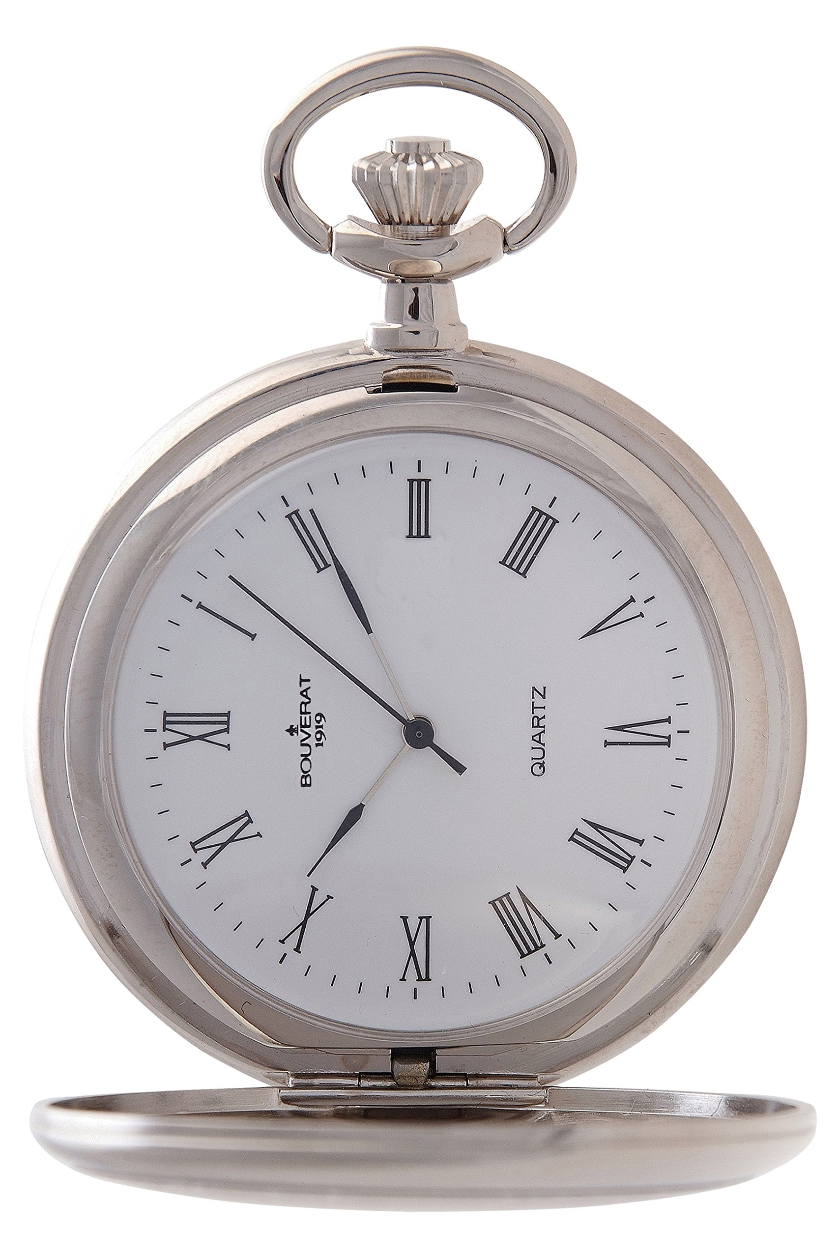 Bouverat 1919 Brushed Satin Case Full Hunter Quartz Roman Pocket Watch with Silver Dial BV821101