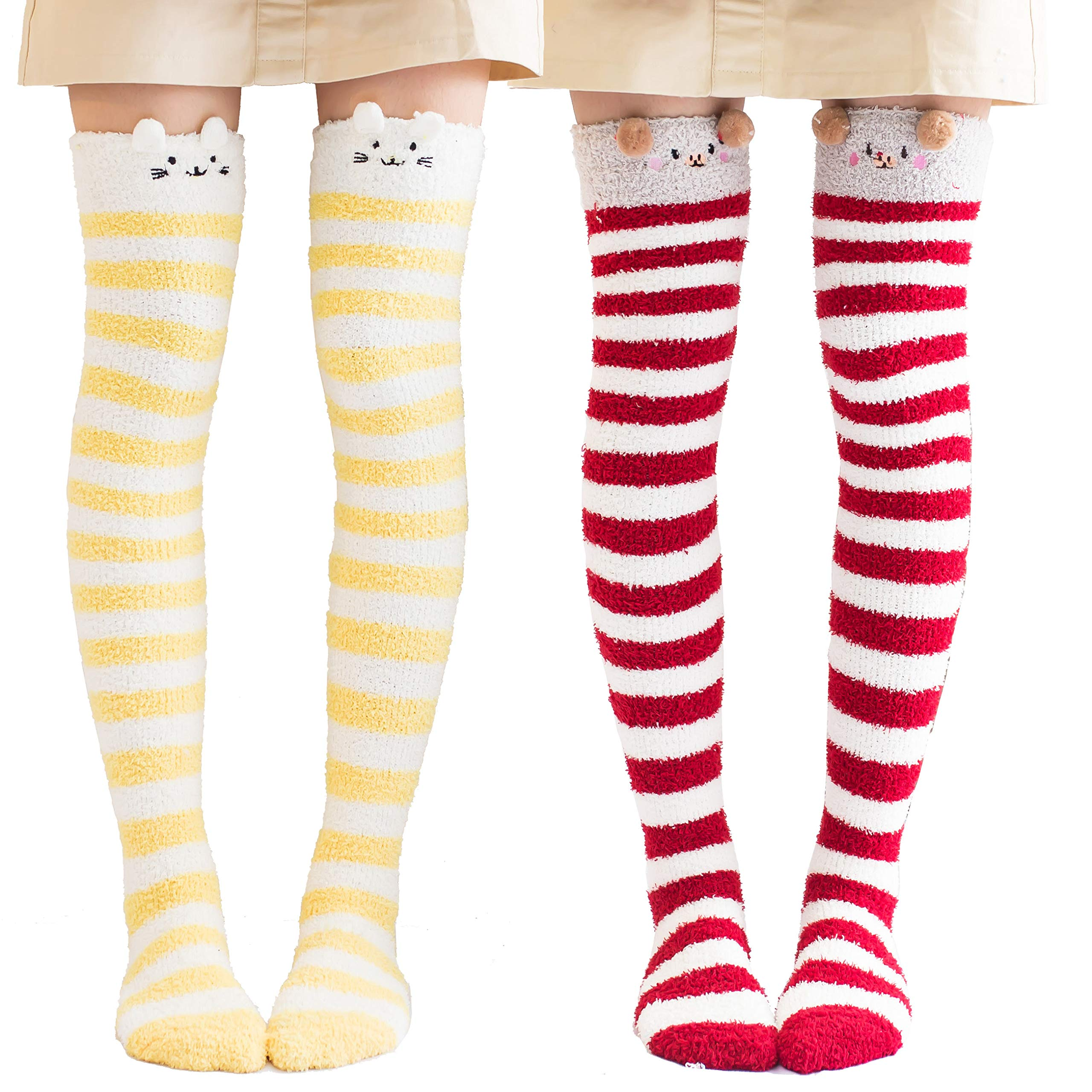 Fitu Womens Cartoon Soft Warm Over Knee High Stockings Fuzzy Socks Cute Animal Fleece Socks (Mix 1)