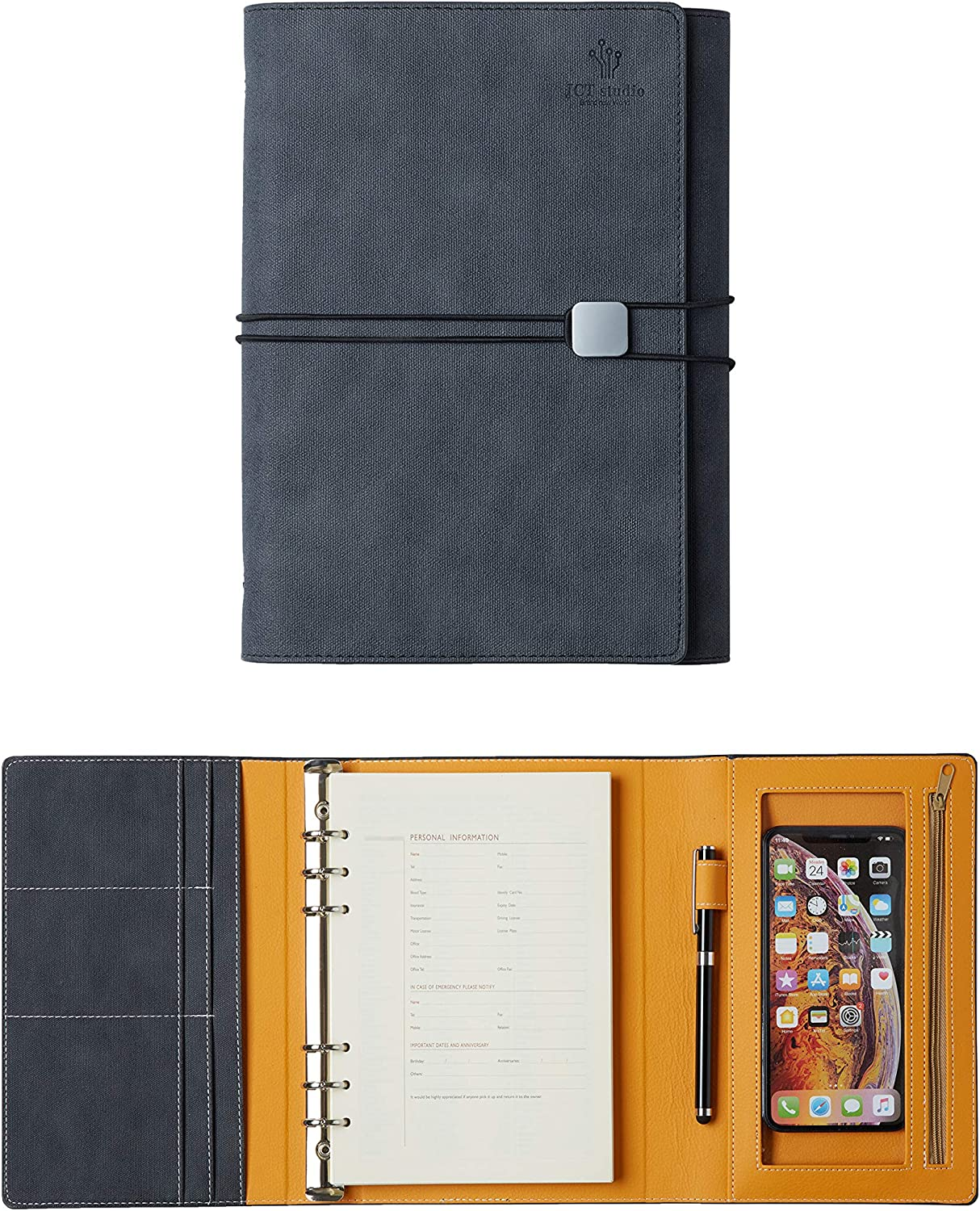 JCT Hardcover Organizer Notebook - Faux Leather Journal with Pen Holder + Phone Pocket + Business Card Holder + Binders, Bonus Touch Screen Pen & A5 6 Hole Resume Papers & Lovely Sticker (Gray)