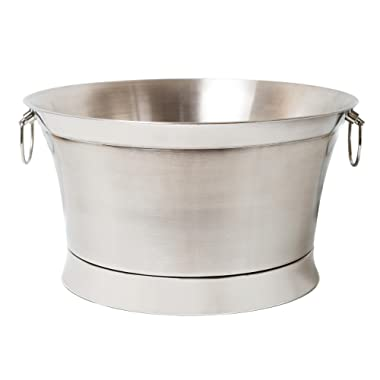 BirdRock Home Double Wall Round Beverage Tub | Stainless Steel | Large