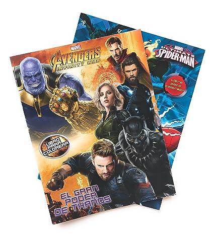 Marvel Avengers Y Spiderman Libros Para Colorear Kit 2 En 1 Dos Libros Para Colorear Para Niños De 16 Páginas Incluye Los Personajes De Avengers