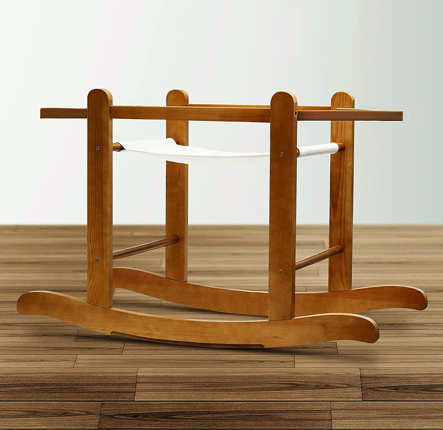 Beary Nice Blue Palm Moses Basket /& Deluxe Natural Rocking Stand
