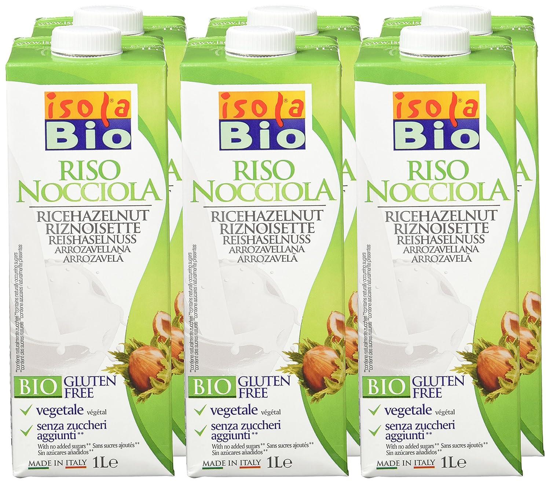 Isola Bio Bebida Vegetal de Arroz con Avellanas - Paquete de 6 x 1000 ml - Total: 6000 ml