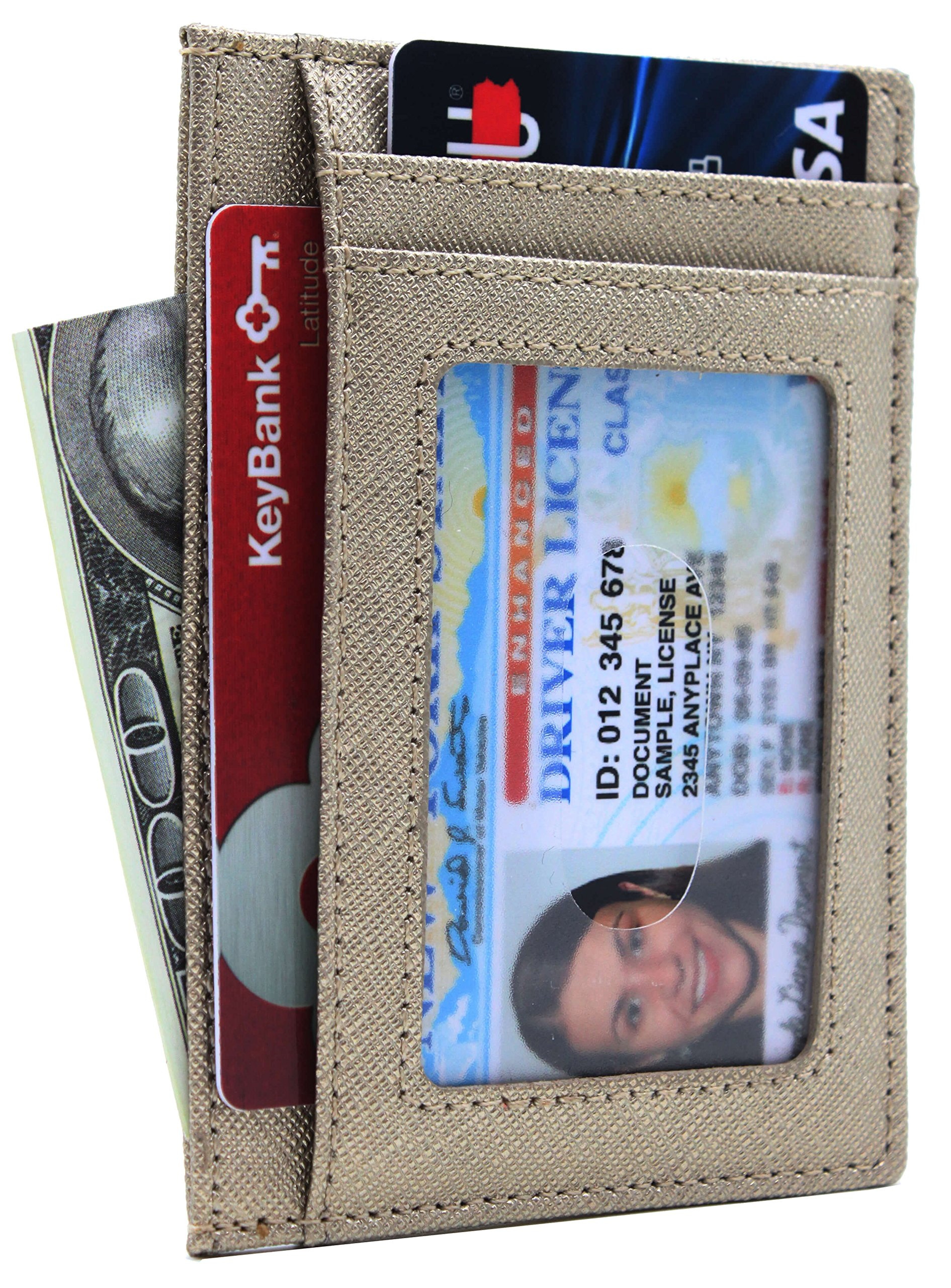 Small Genuine Leather RFID Blocking Minimalist Wallet Credit ID Card Holder Travel Slim Pocket Wallet Money Clip Men Women, Gold