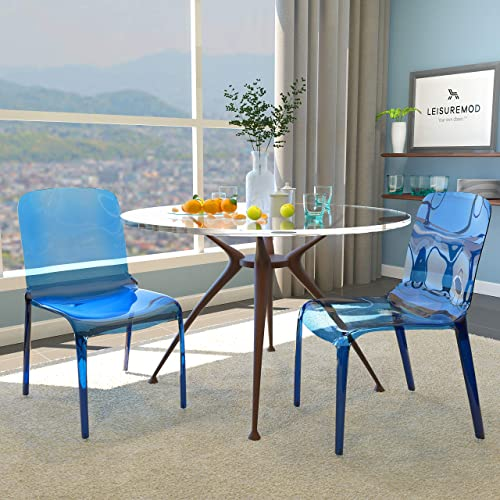 LeisureMod Adler Mid-Century Modern Dining Side Chair, Set of 2 Transparent Blue