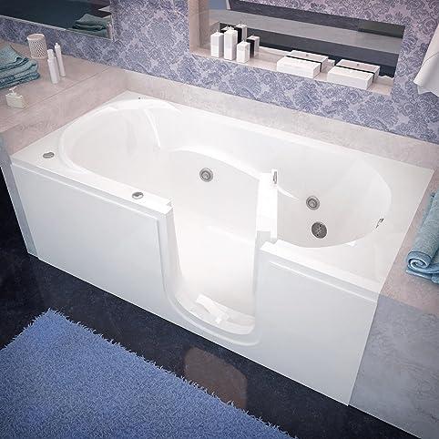 Amazing Spa World Venzi Vz3060sirwh Rectangular Whirlpool Walk In Bathtub, 30x60,  Right Drain,