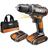 WORX WX170 Akkuschrauber 20V - 30Nm, 2-Gang-Getriebe & LED-Licht   Akkubohrschrauber Set zum Bohren & Schrauben - mit 2 Li-Ion Akkus, Ladegerät & Werkzeug Tasche